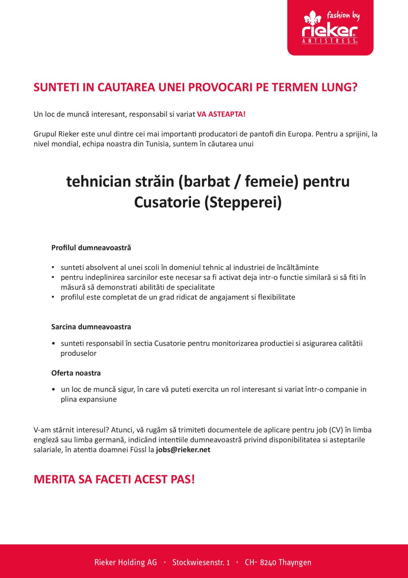 Tehnician străin (m/f) pentru Cusatorie (Stepperei)
