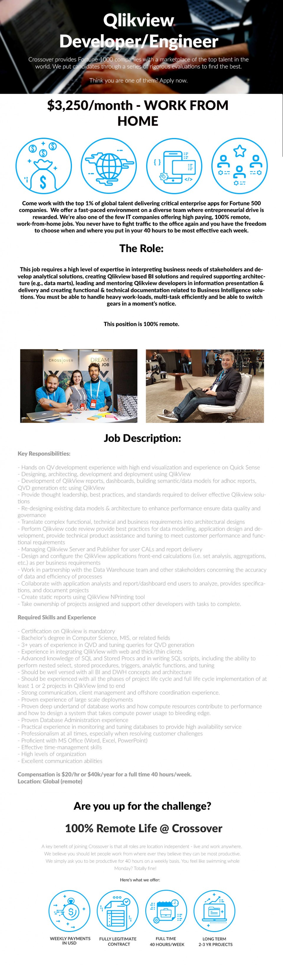 Qlikview Developer/Engineer - $3250/month - WORK FROM HOME