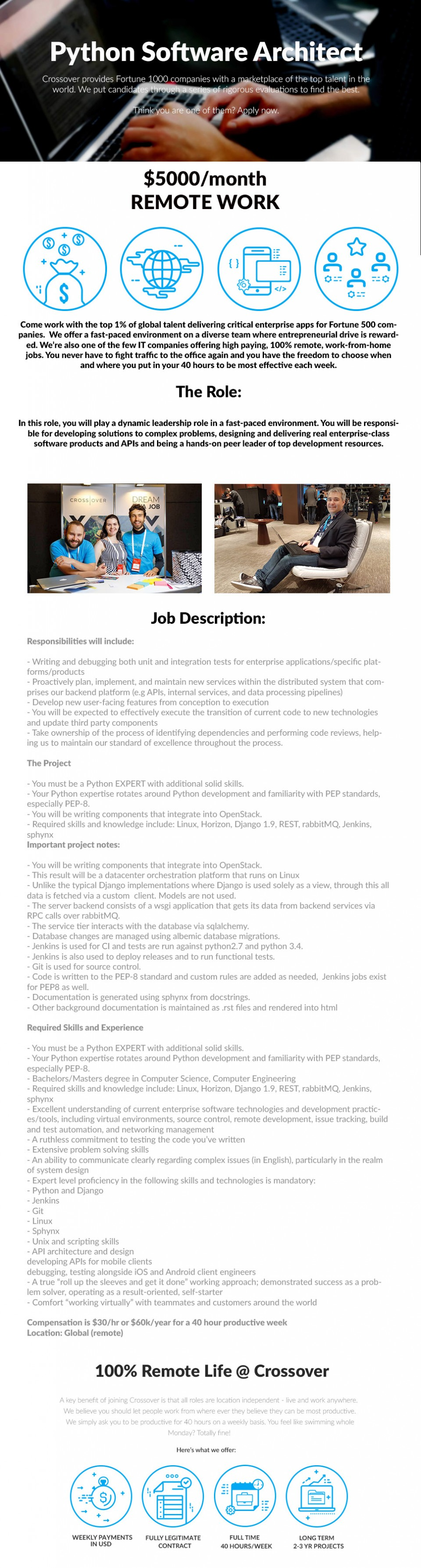 Python Software Architect - WORK FROM HOME