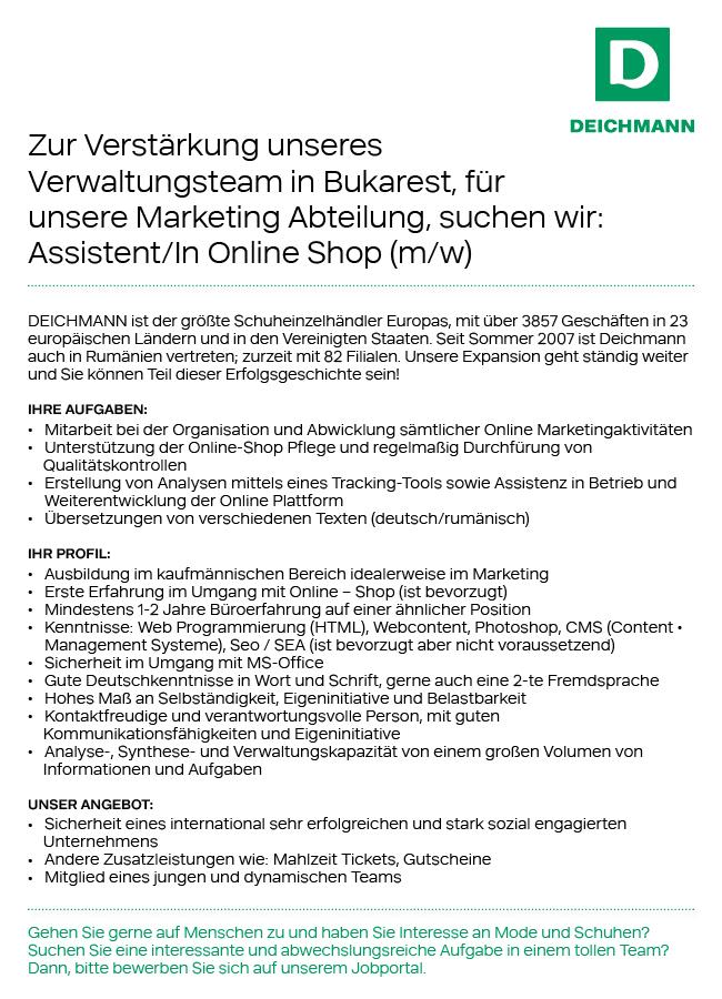 firma deichmann este prezent cu aproape 3857 magazine n peste 23 ri europene i statele unite - Deichmann Bewerbung