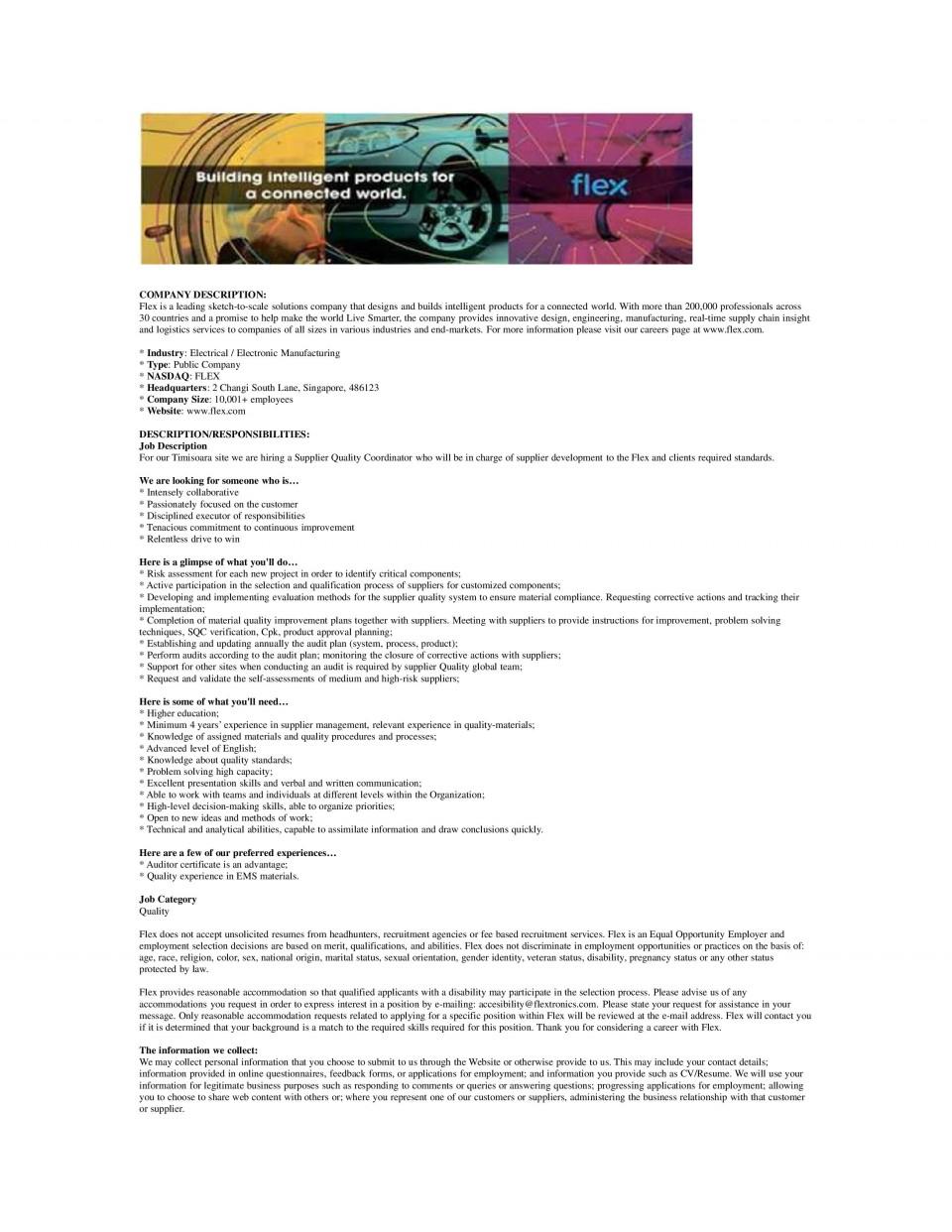 Supplier Quality Coordinator - WD036200