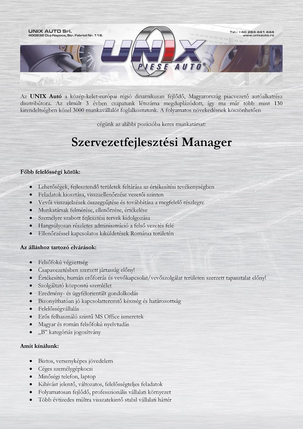 Szervezetfejlesztesi Manager