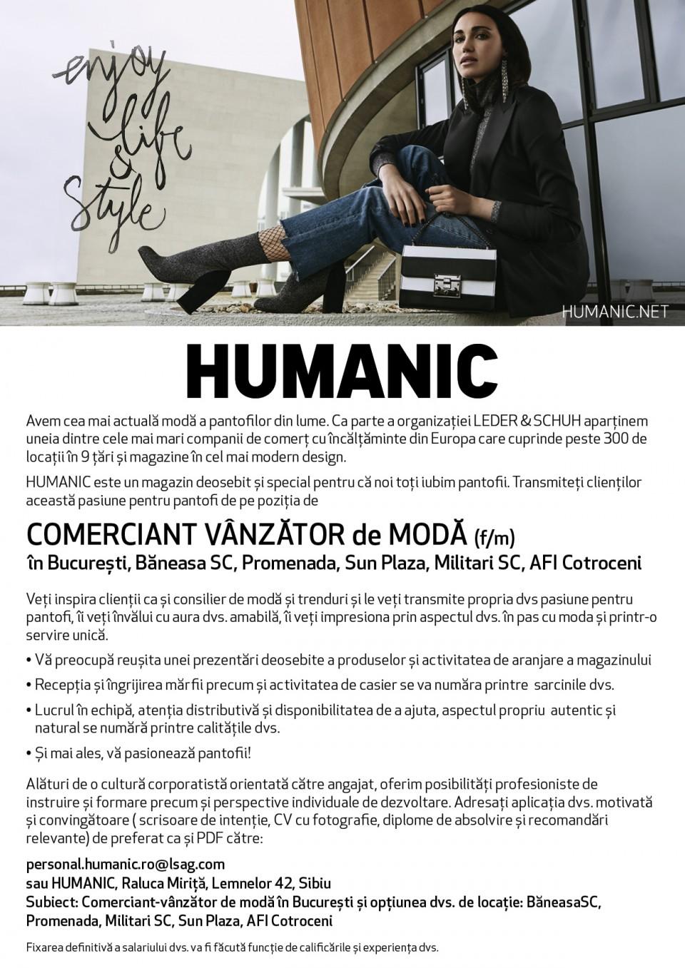 COMERCIANT VÂNZĂTOR de MODĂ (f/m) în București