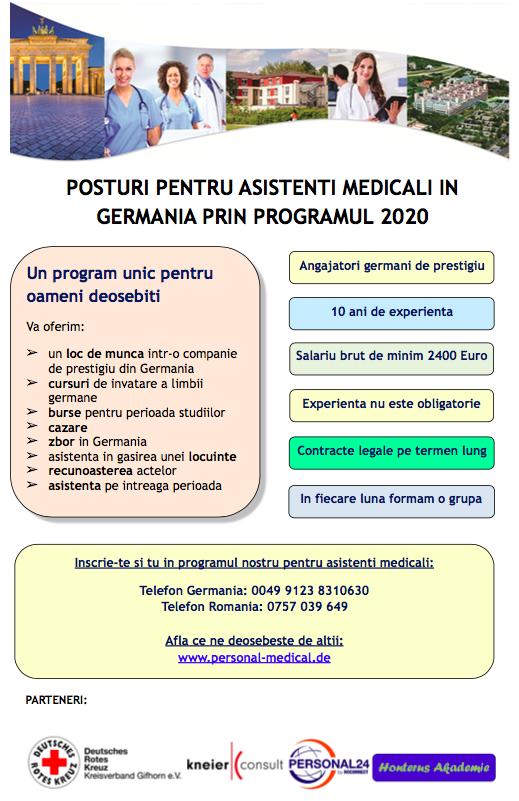 Asistenti medicali pentru Germania prin Programul 2020