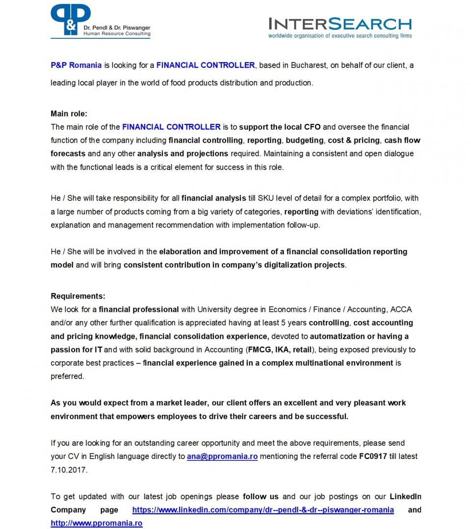 financial controller  dr pendl  u0026 dr piswanger srl
