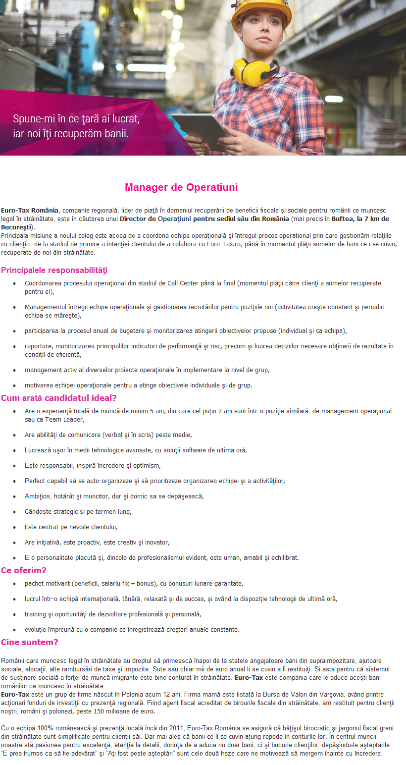 manager de operatiuni  euro-tax ro servicii fiscale emigranti srl