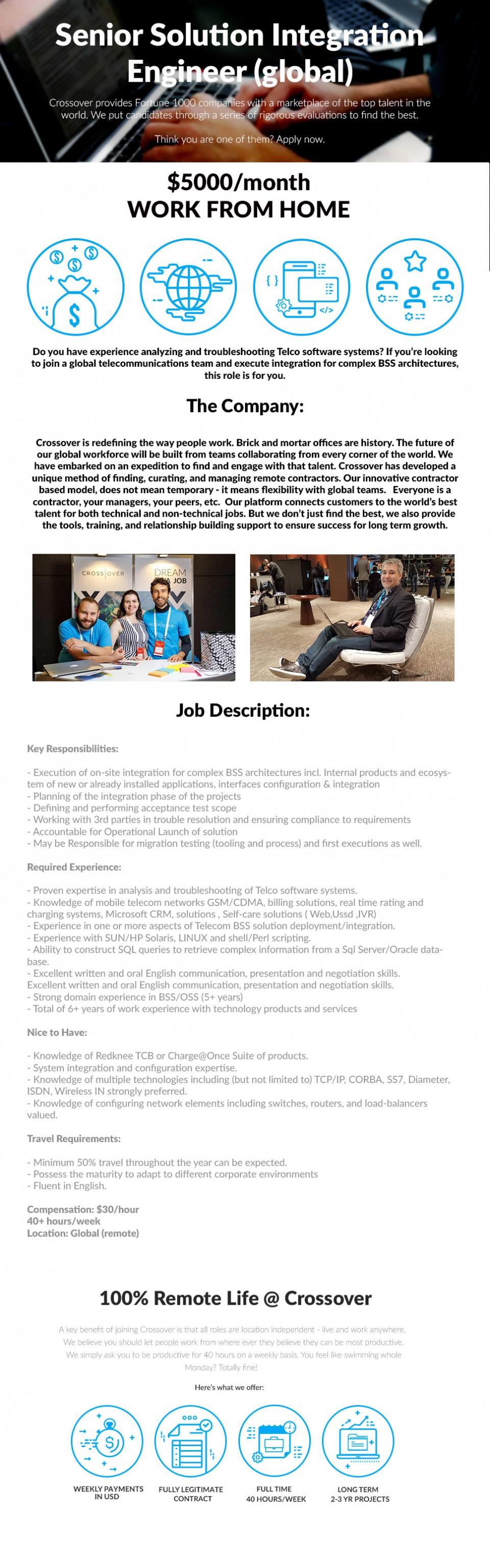 Senior Solution Integration Engineer (global) - $5000/month