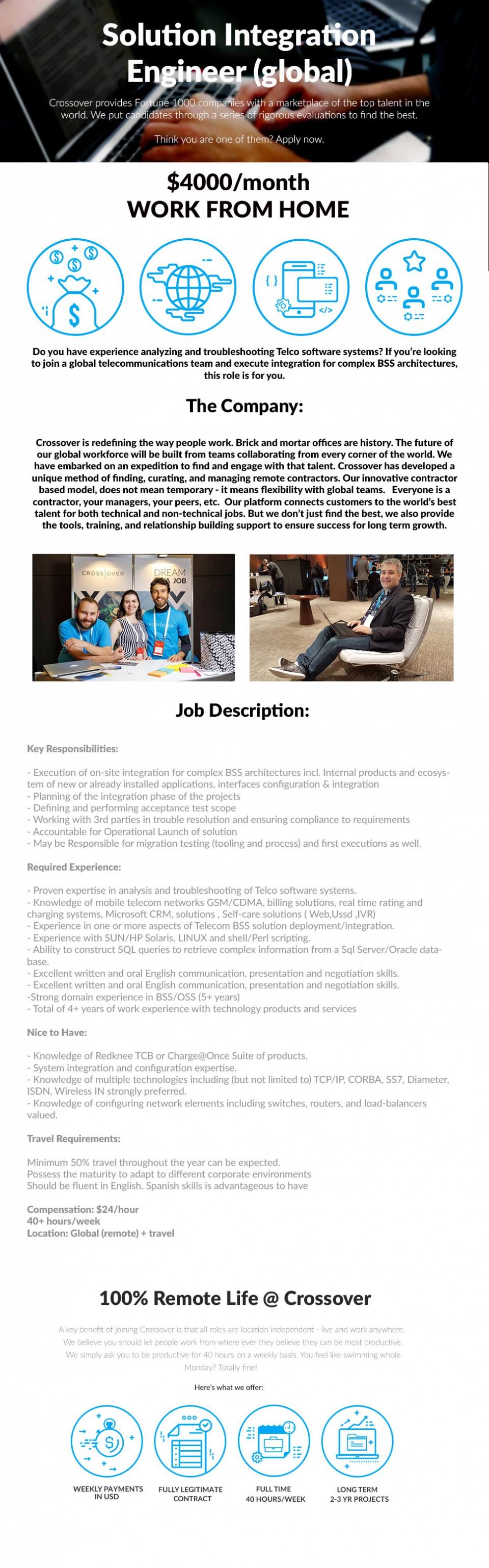 Solution Integration Engineer (Global) - $4000/mth - REMOTE