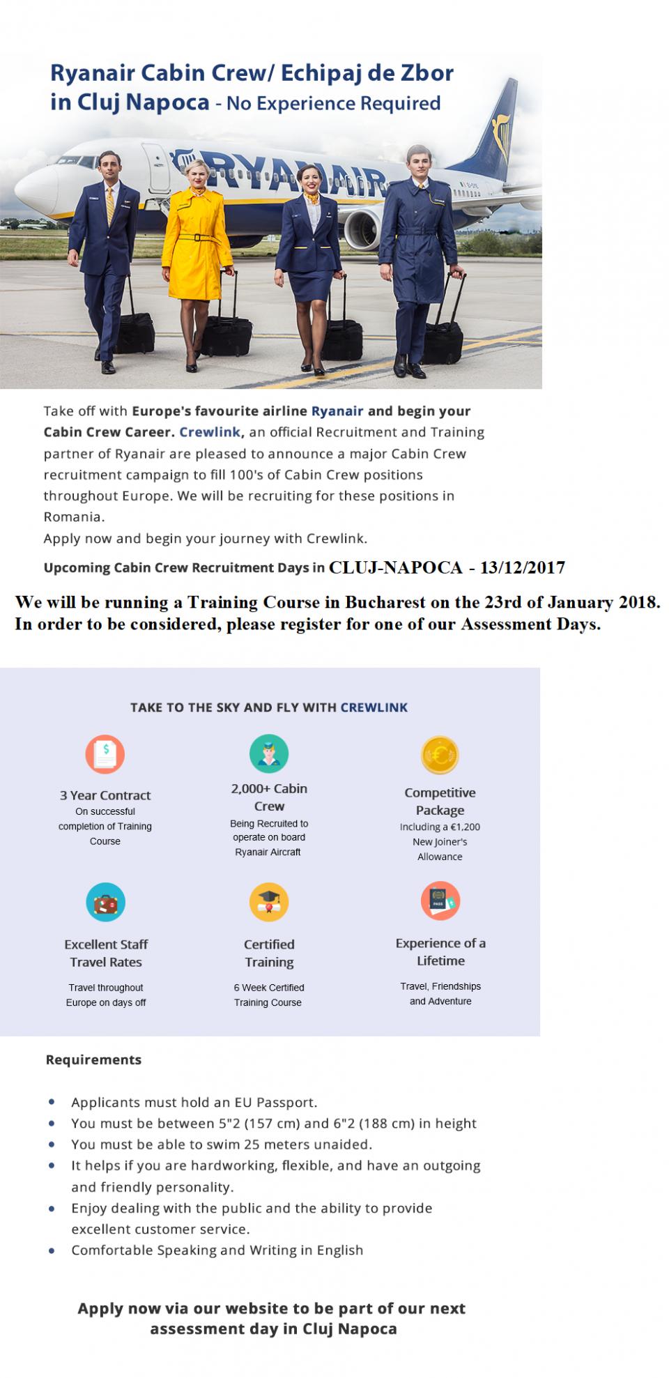 Ryanair Cabin Crew - No Experience Required - CLUJ NAPOCA
