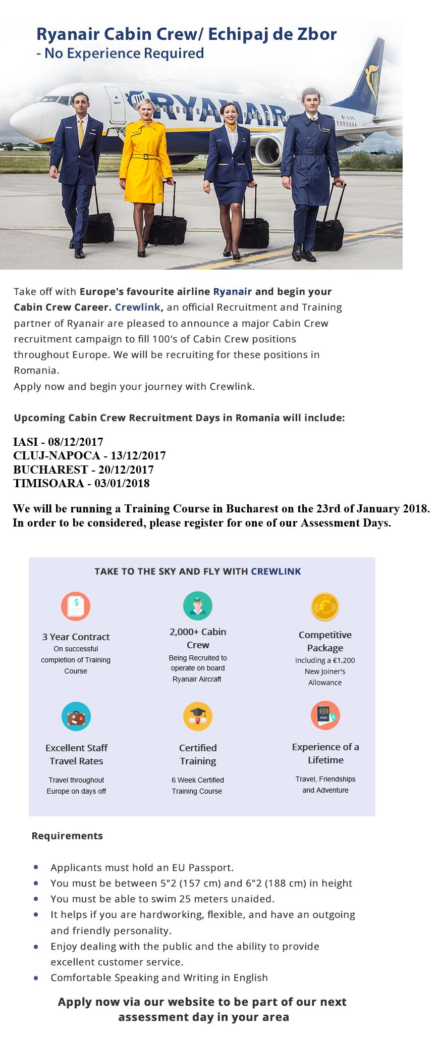 Ryanair Cabin Crew/ Echipaj de Zbor - No Experience Required