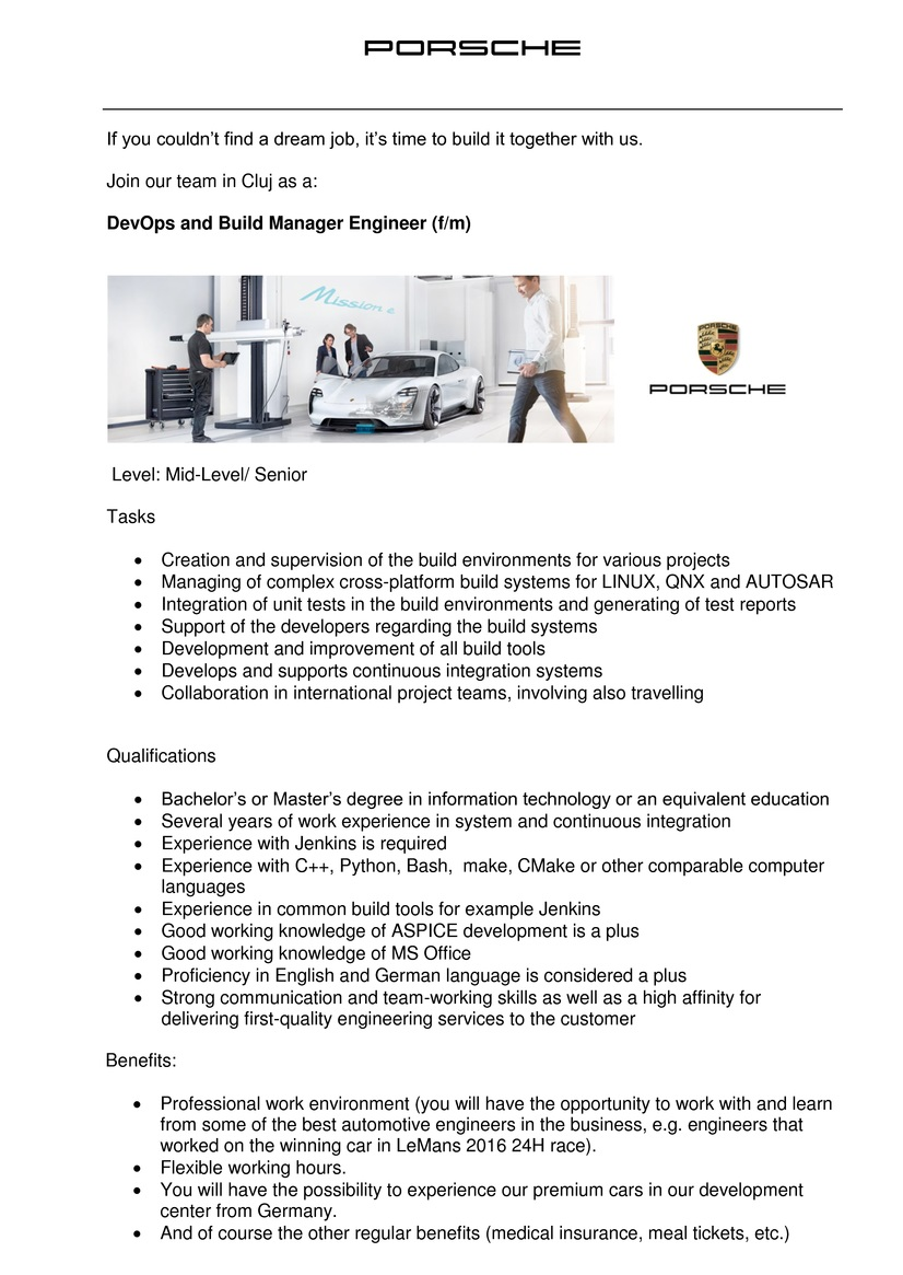 devops and build manager engineer  f  m   porsche
