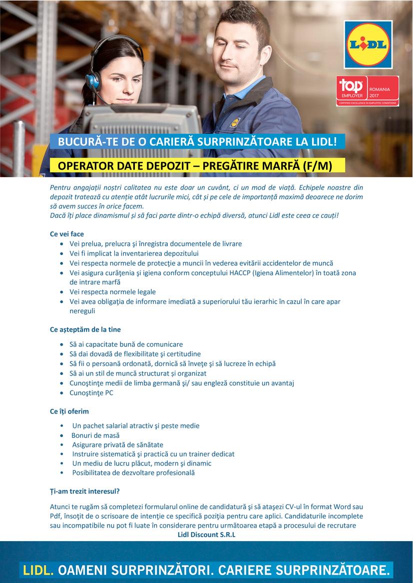 Operator Date Pregătire Marfă - Depozit Lugoj (f/m)