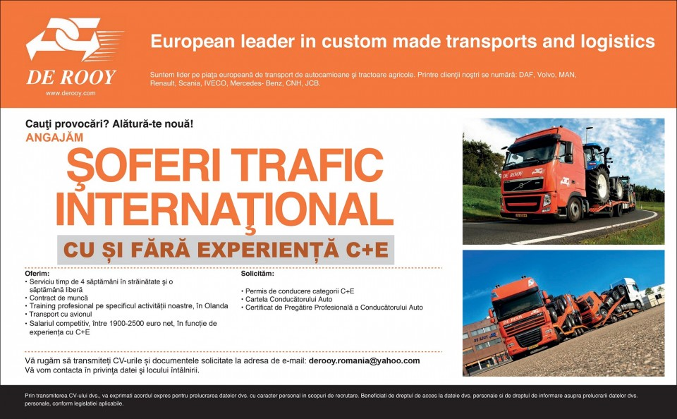 European leader in custom made transports and logistics www.derooy.com