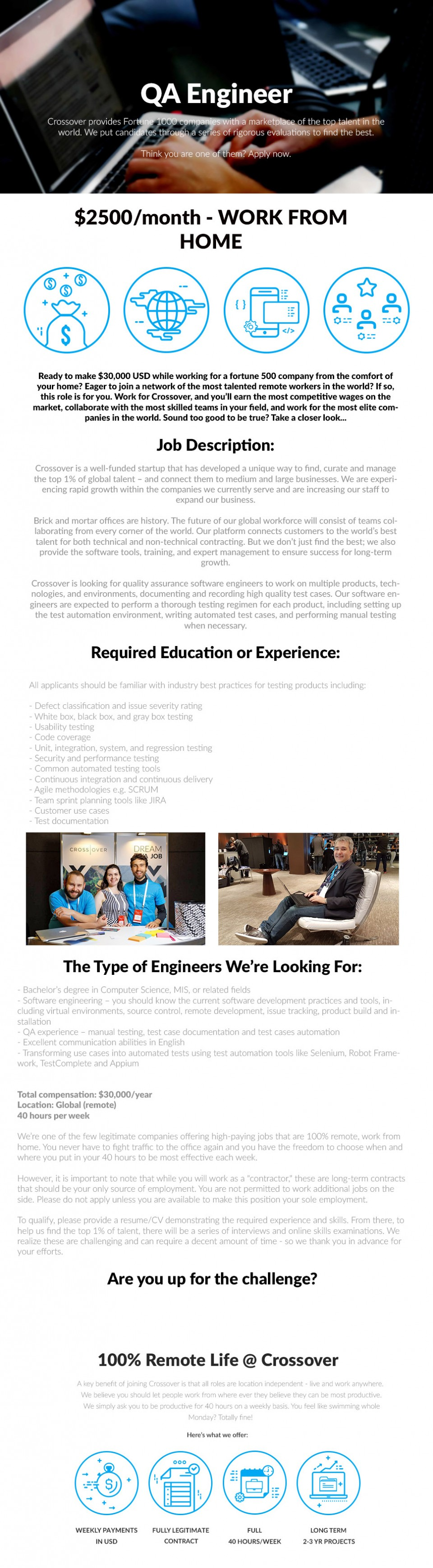 qa engineer - usd  2500  month