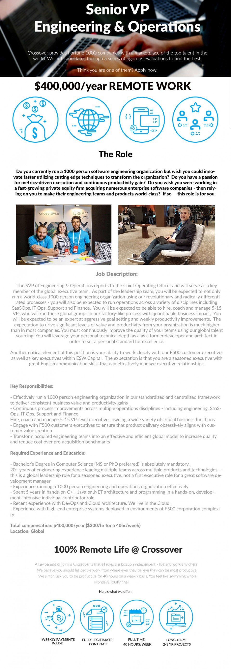 Senior VP of Engineering & Operations - $400,000/year